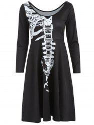 Skeleton Print High Waist Halloween Dress -