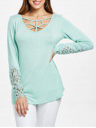 Lattice Cut Front Lace Panel Cuff T-shirt -