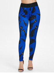 Black Cats Print High Waist Casual Pants -