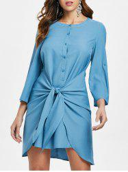 Knotted Overlap Shirt Dress -
