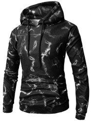 Casual Abstract Smoke Print Pouch Pocket Fleece Hoodie -