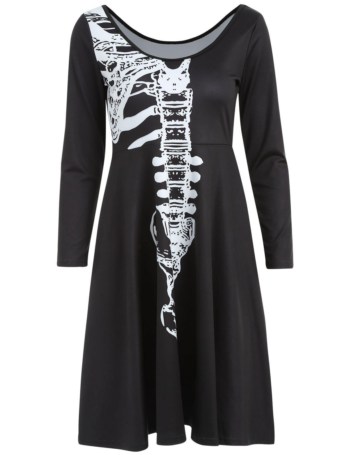 Latest Skeleton Print High Waist Halloween Dress