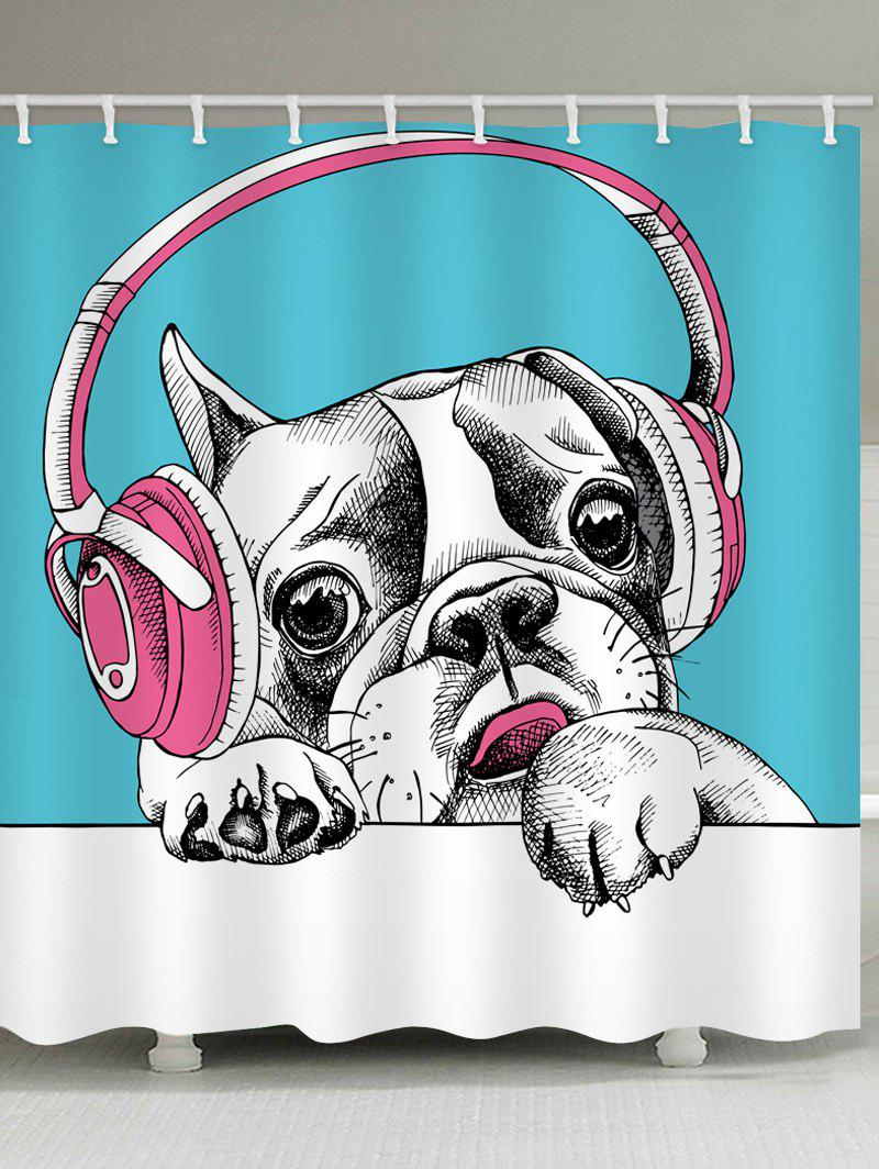 Fashion Dog with Earphones Print Waterproof Bathroom Shower Curtain