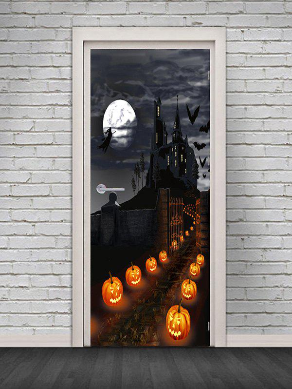 Affordable Halloween Castle Pumpkin Pattern Door Cover Stickers