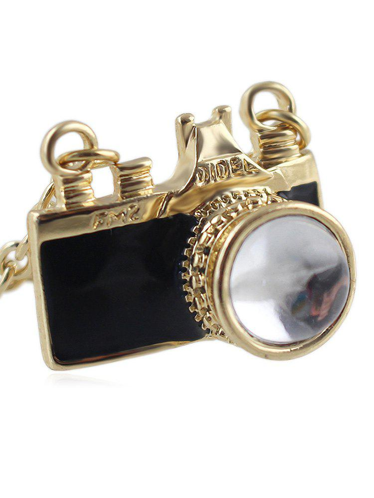 Store Faux Crystal Camera Chain Necklace