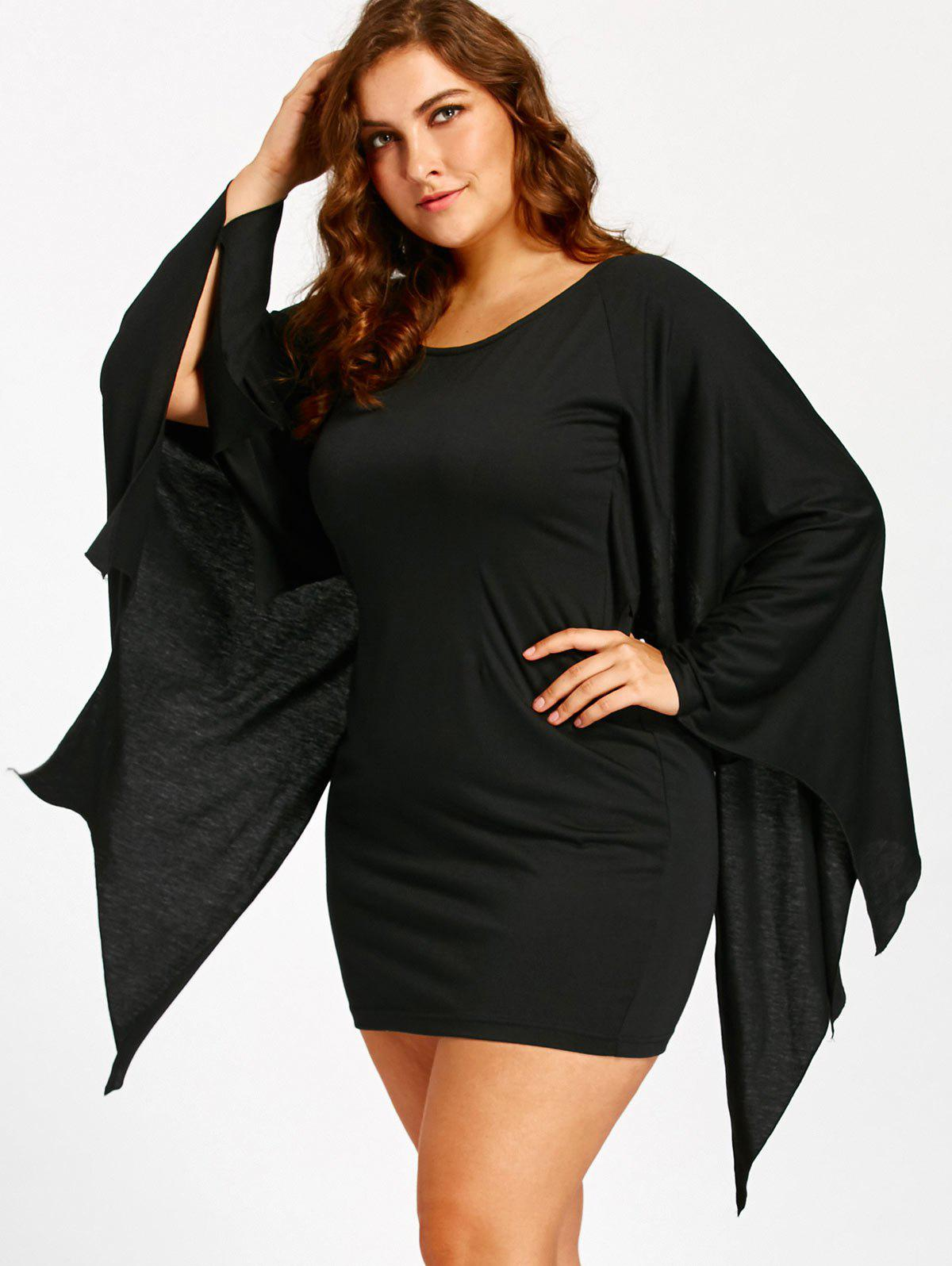 Discount Halloween Bat Wings Plus Size Tunic Dress