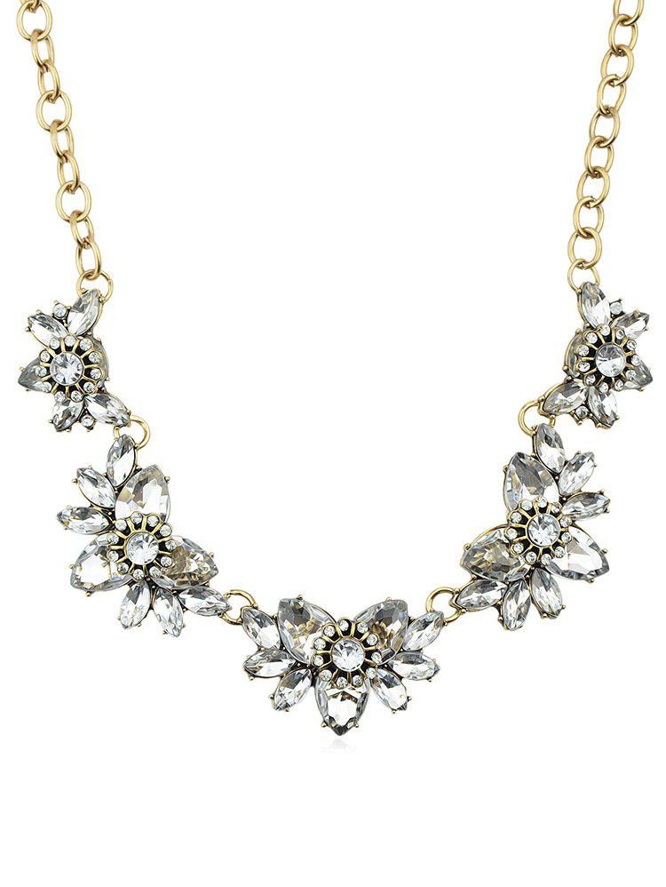 Sale Fake Diamond Flower Design Pendant Chain Necklace