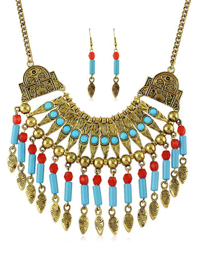 New Retro Beads Tassel Pendant Necklace Earrings Set