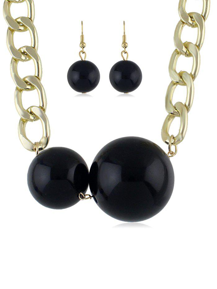 Trendy Beads Decoration Chain Necklace with Earrings
