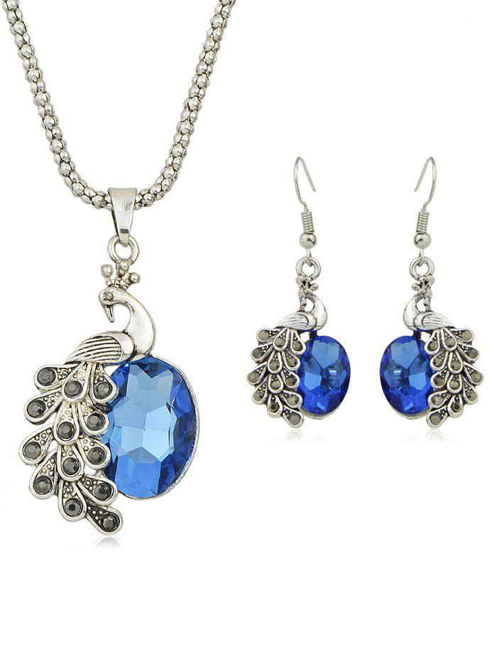 Sale Peacock Rhinestone Pendant Necklace with Earrings