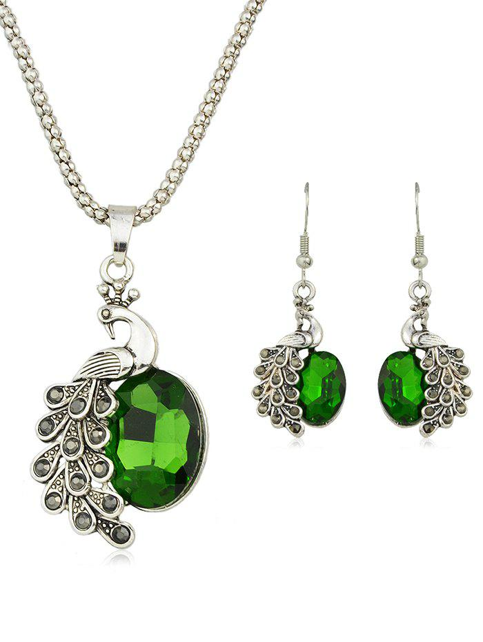 Shop Peacock Rhinestone Pendant Necklace with Earrings