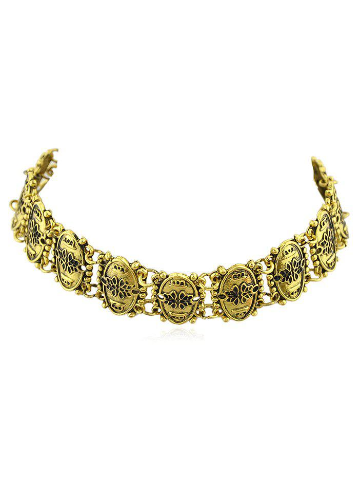 Online Floral Printed Oval Shape Spliced Choker Necklace