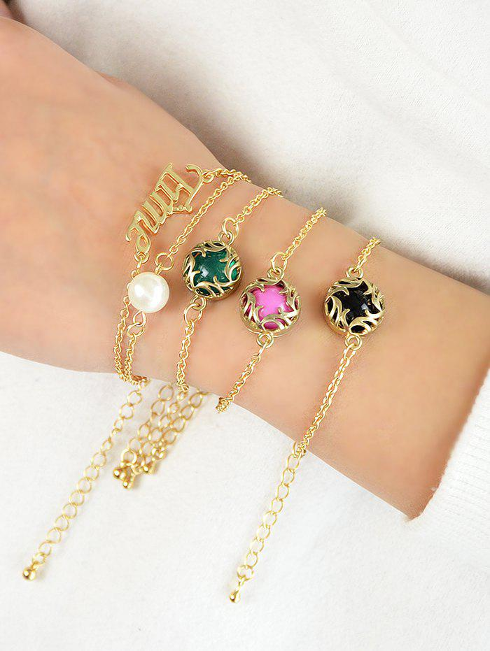Cheap Artificial Pearl Fake Gem Bracelets Set