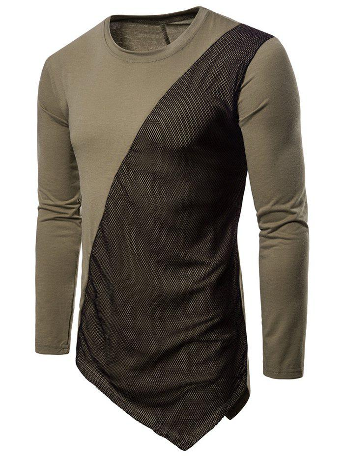 New Asymmetric Long Sleeve Mesh Panel T-shirt