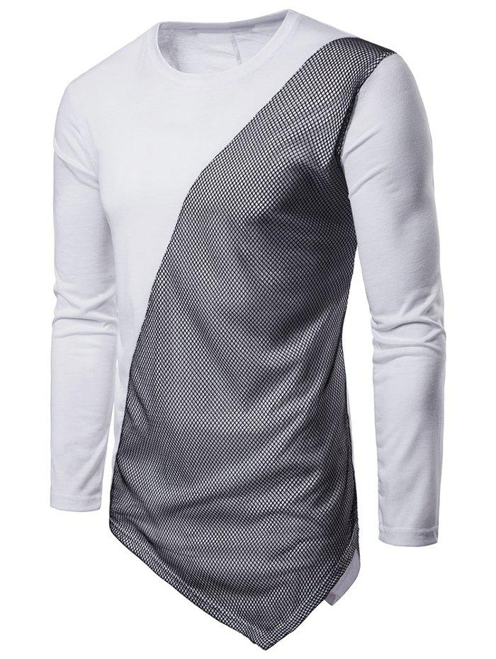 Cheap Asymmetric Long Sleeve Mesh Panel T-shirt