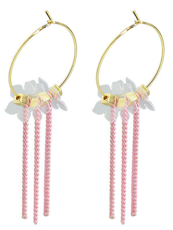 Chic Tiny Flowers Chain Tassel Drop Earrings
