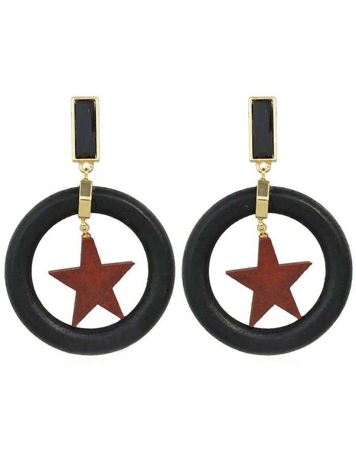 Shops Round Shaped Star Design Drop Earrings