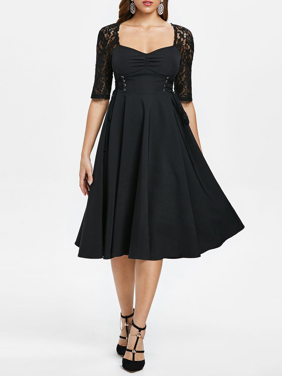 Online Lace Up Half Sleeve Vintage Dress