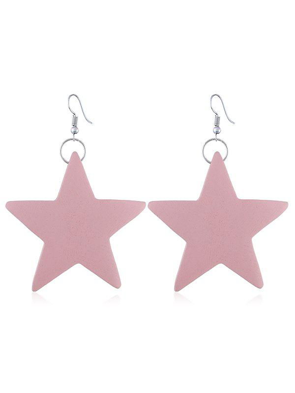 Cheap Stylish Wooden Star Fish Hook Earrings