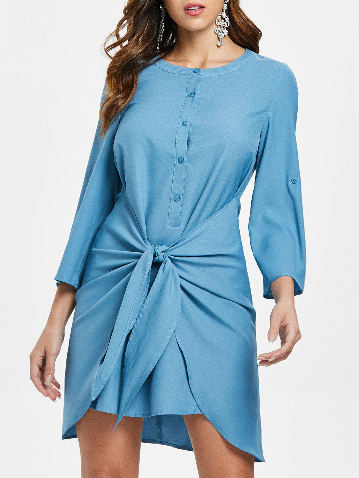 Chic Knotted Overlap Shirt Dress