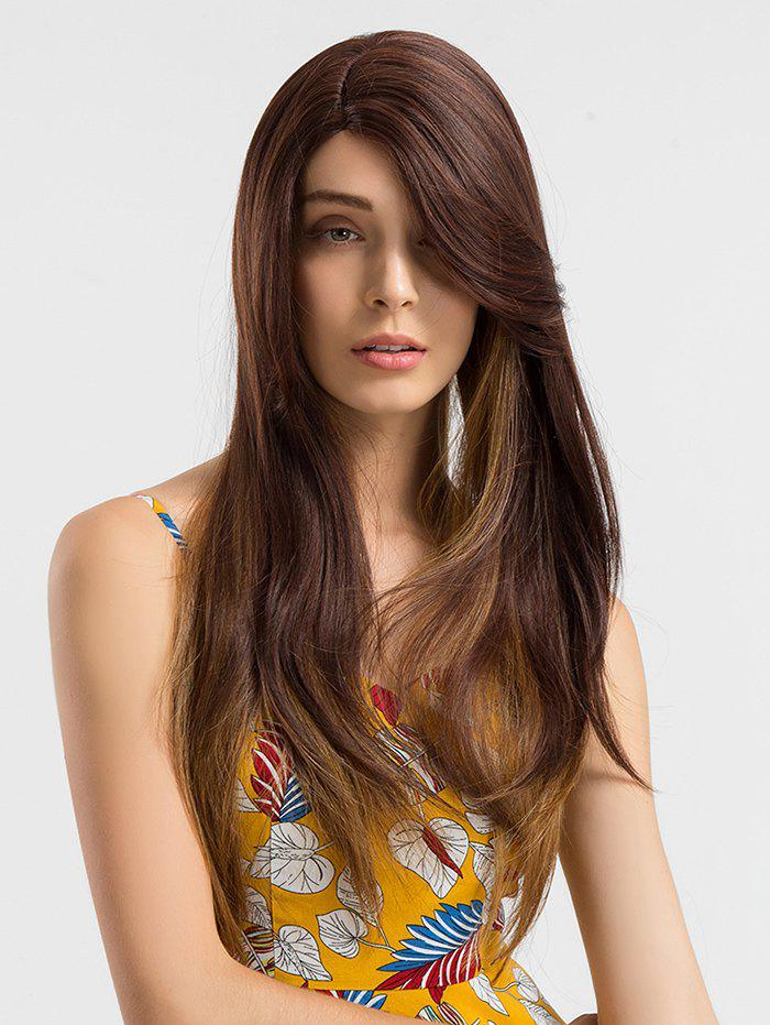 Cheap Long Side Parting Colormix Straight Lace Front Synthetic Wig