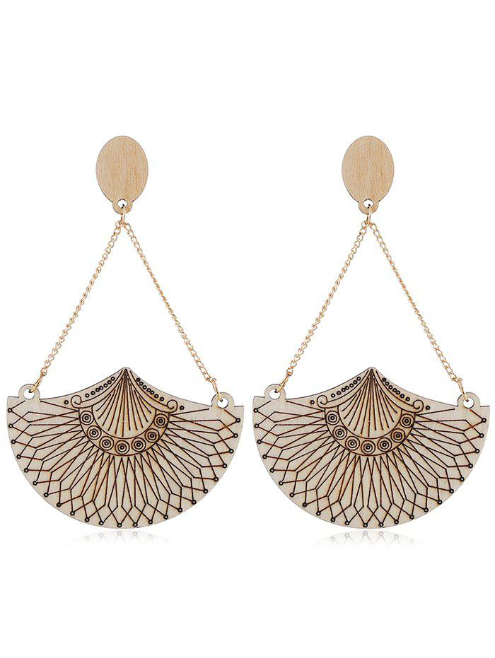 Unique Ethnic Style Geometric Wooden Drop Earrings