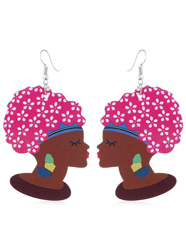 Online Indian Lady Wooden Hook Earrings