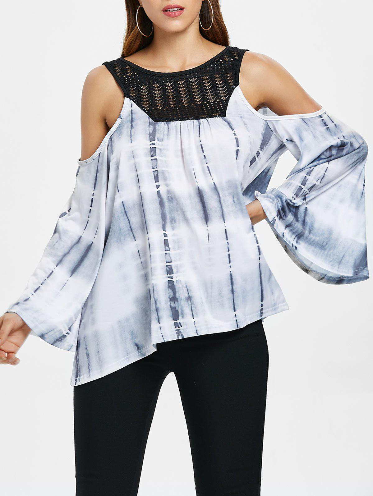 Store Cold Shoulder Tie Dye Top
