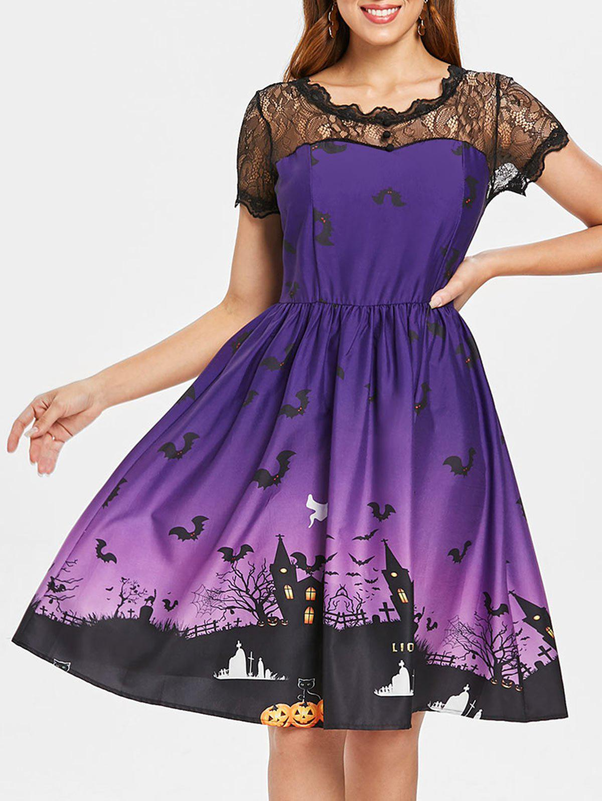Unique Vintage Lace Insert Halloween Dress