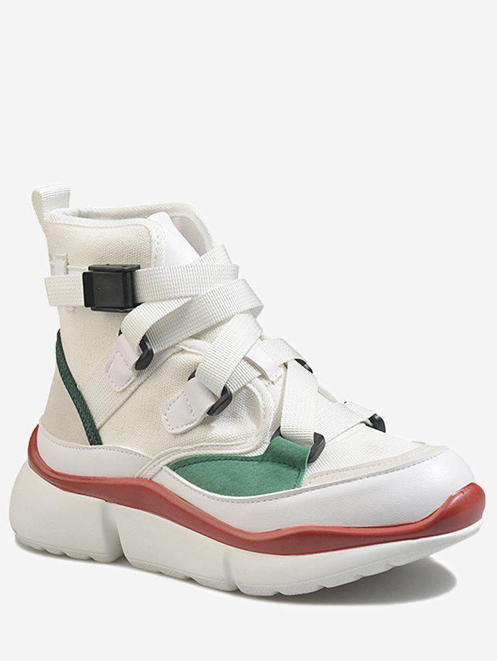 Buy Buckled High Top Contrasting Color Sneakers