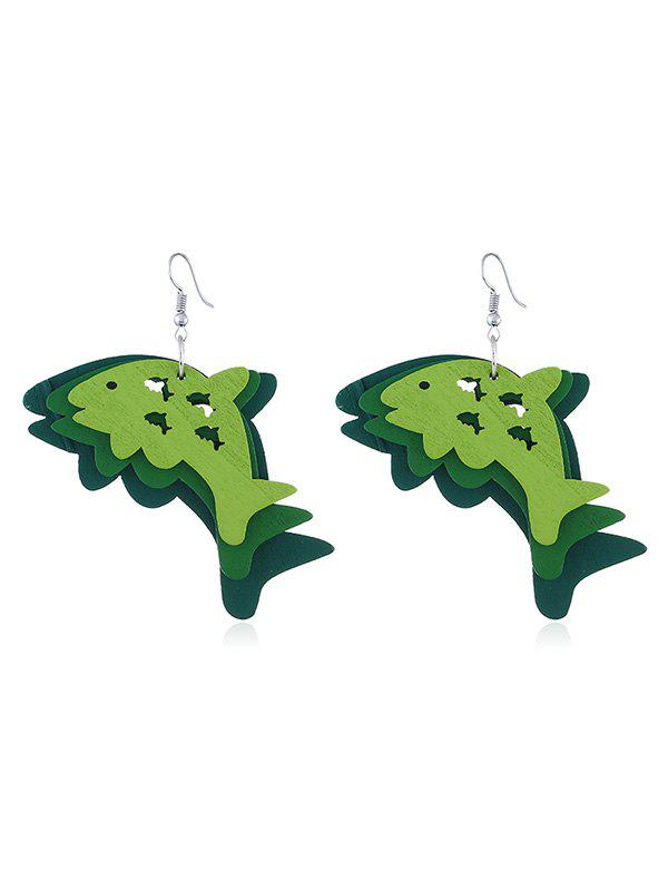 Fancy Joyful Dolphin Wooden Hook Earrings