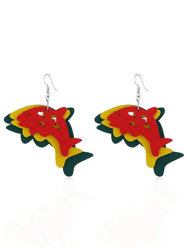 Discount Joyful Dolphin Wooden Hook Earrings