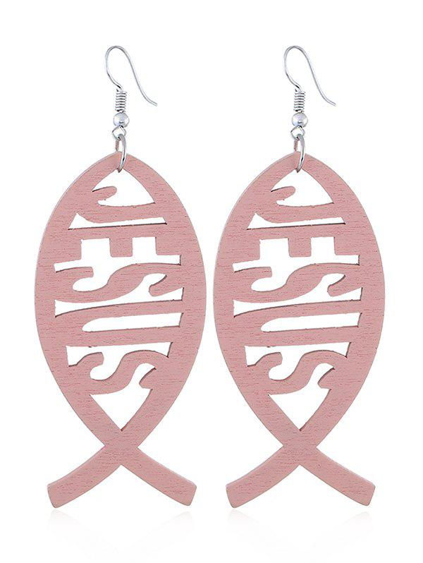 Cheap Hollow Out Fish Wooden Hook Earrings