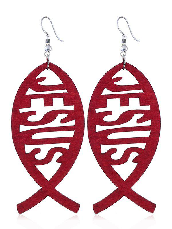 Chic Hollow Out Fish Wooden Hook Earrings
