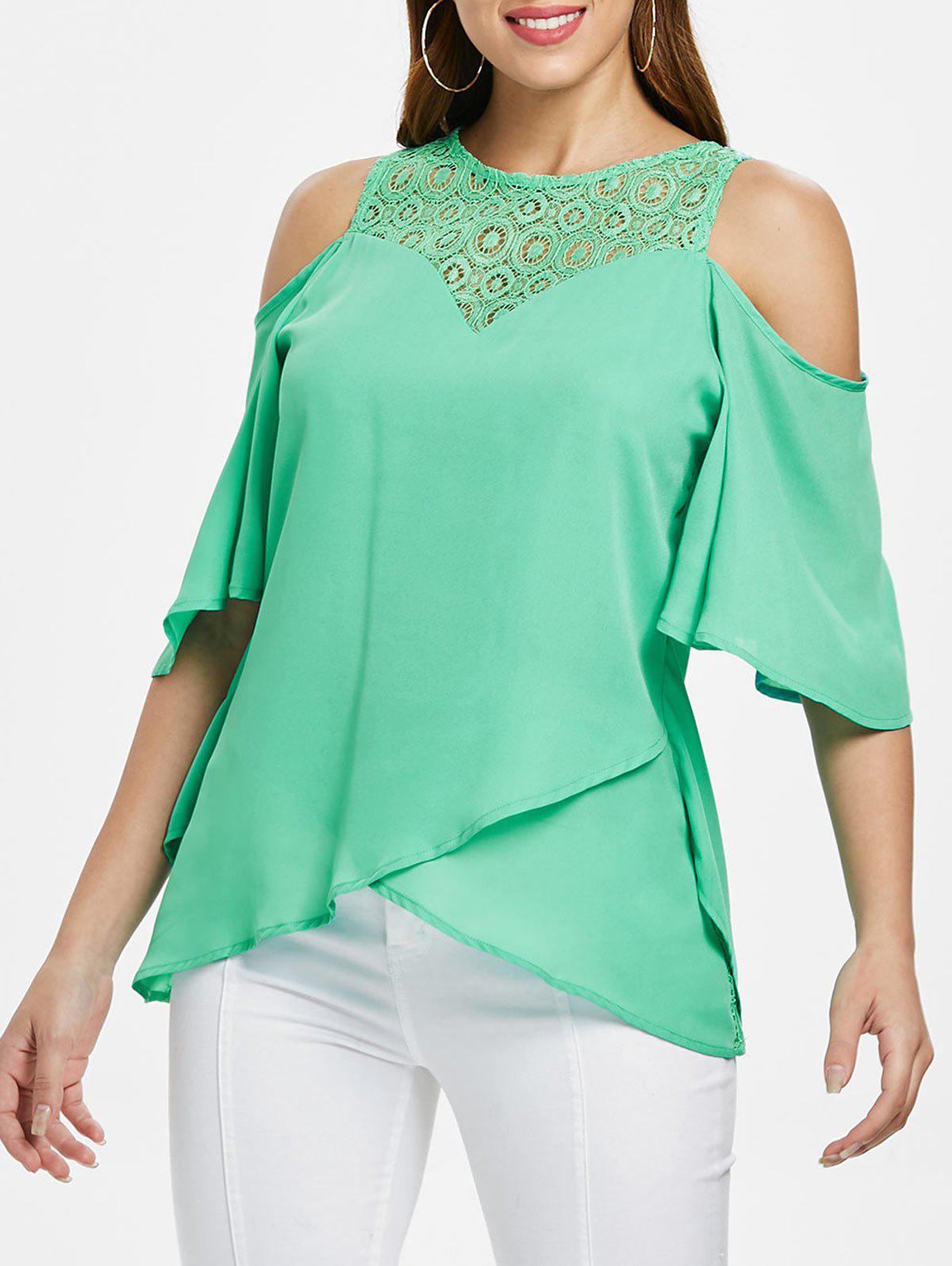 Store Lace Back Zipper Flowy Blouse