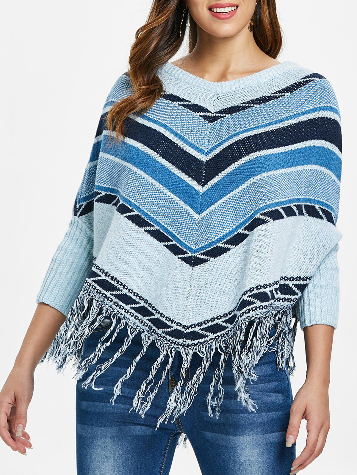 Shop Striped Fringed Cape Sweater