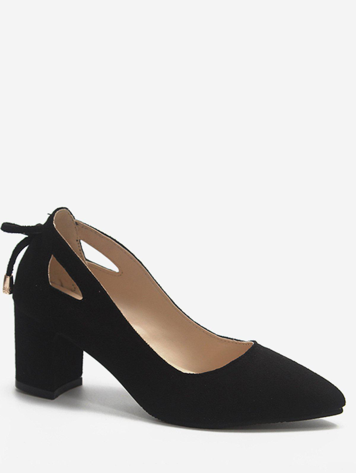 Fancy Plus Size Block Heel Cut Out Pumps