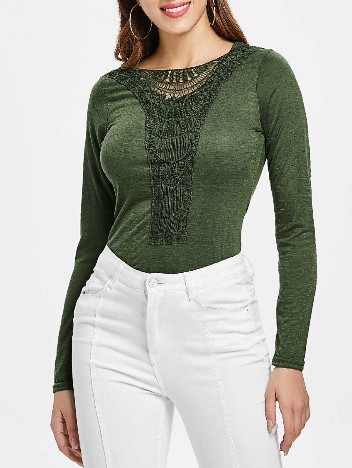 Shop Casual Scoop Neck Hollow Out Crochet Spliced Solid Color T-Shirt For Women