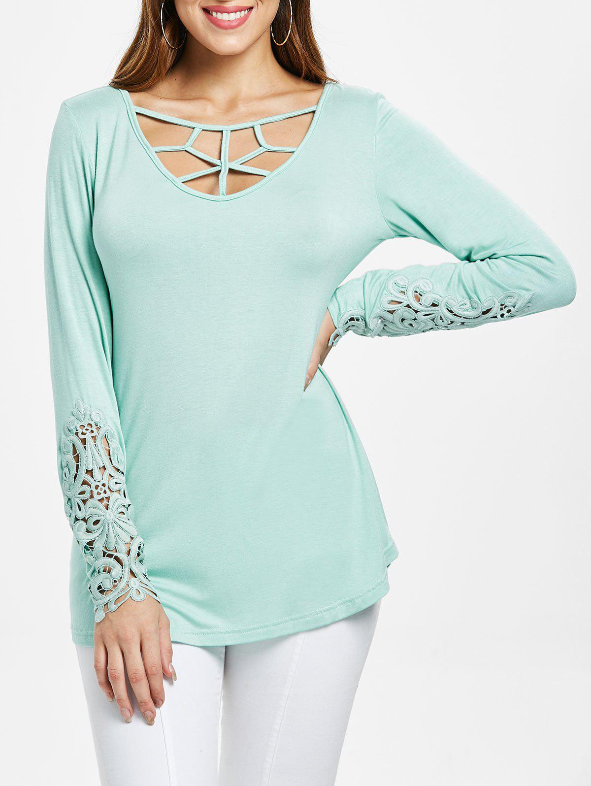 251cf3ca7 63% OFF] Lattice Cut Front Lace Panel Cuff T-shirt | Rosegal