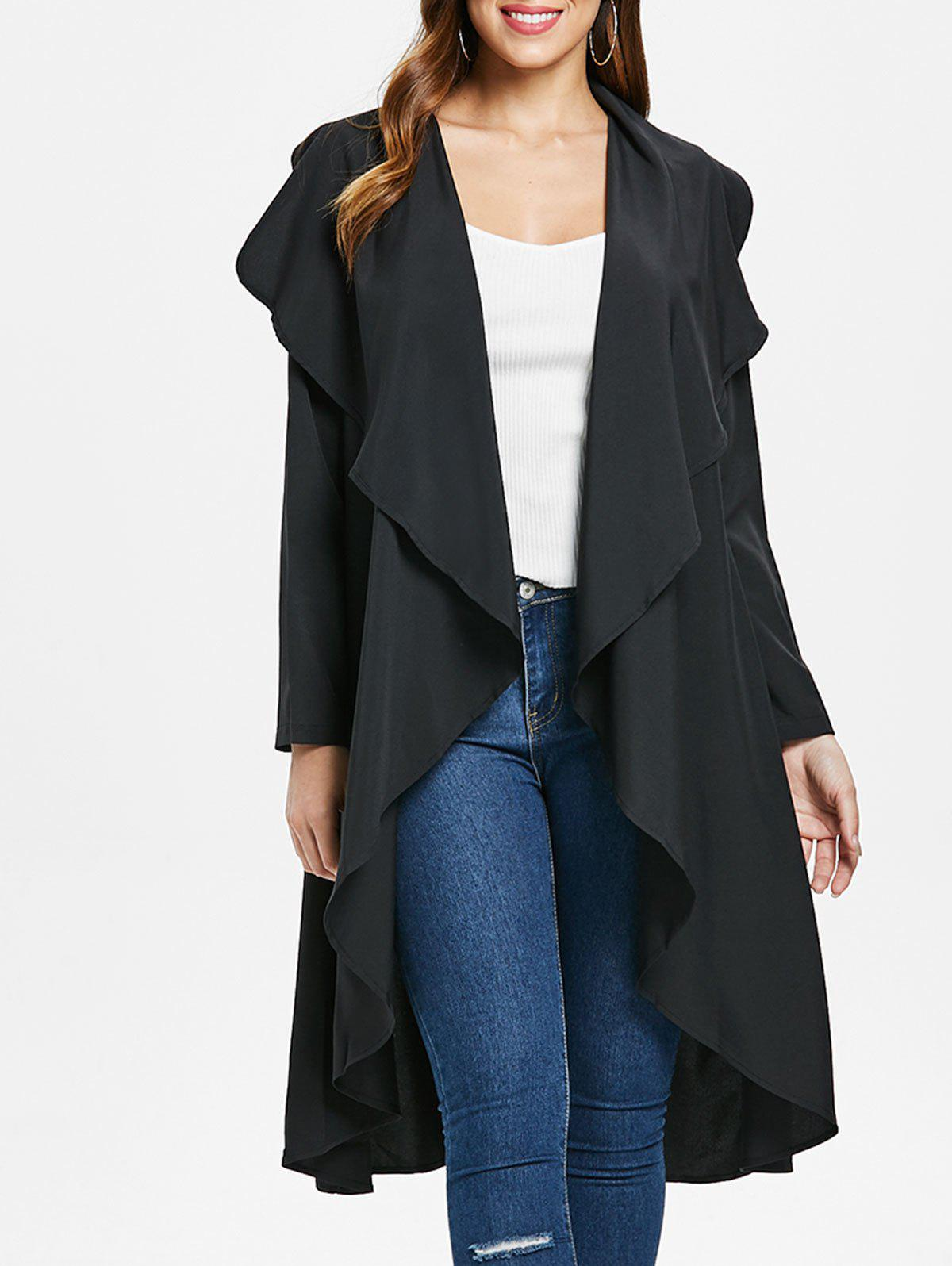 Online Ruffle-front Long Sleeve Drape Coat