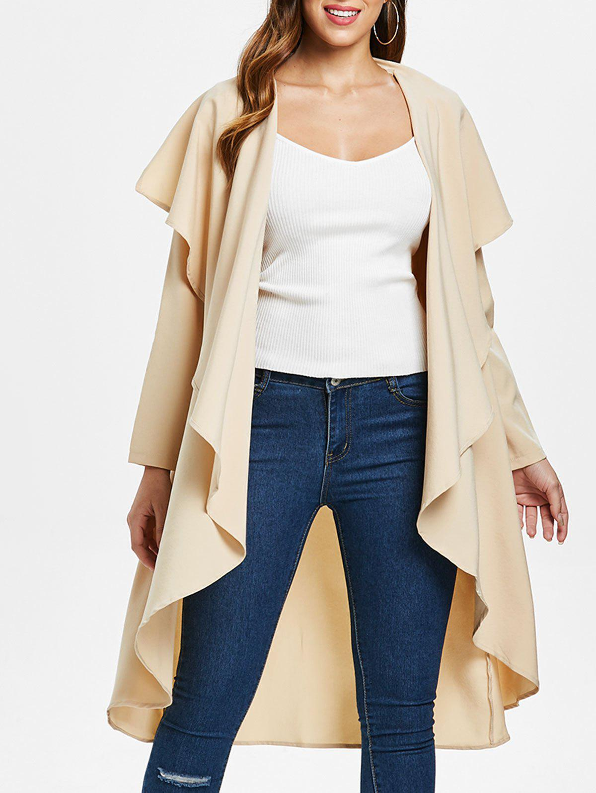 Trendy Ruffle-front Long Sleeve Drape Coat