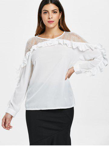 Lace Trim Ruffles Full Sleeve Blouse