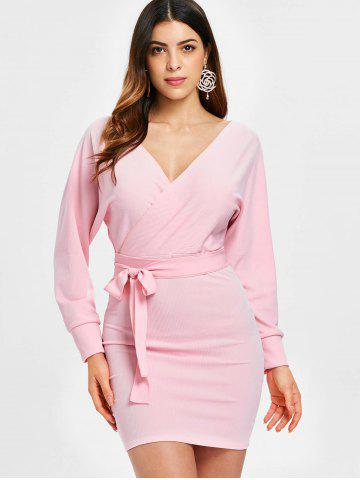 Plunging Neck Long Sleeve Dress