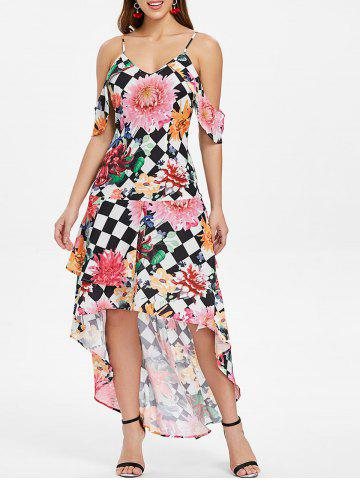 Floral and Checked Pattern Cold Shoulder Dress