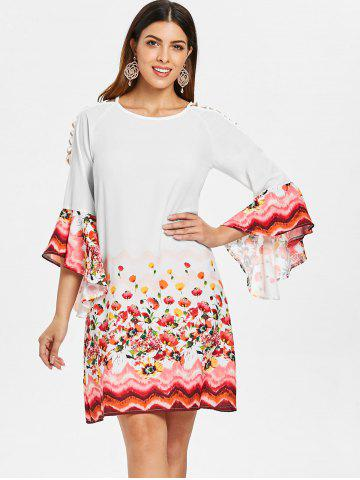 Flare Sleeve Cut Out Shift Dress