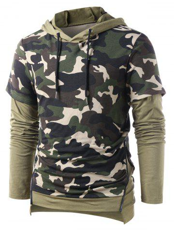 Side Zipper Faux Twinset Camo Print Hoodie