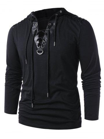 Lace Up Faux Leather Hoodie