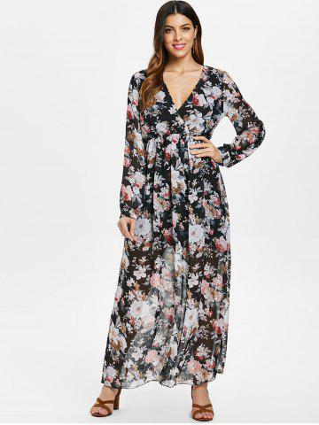 Full Sleeve Floral Faux Wrap Maxi Dress