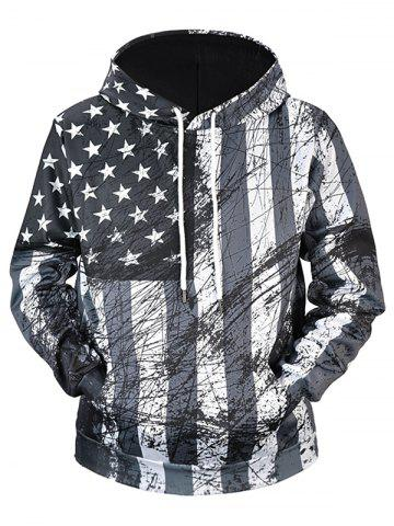 Stars and Stripes Print with Graffiti Lines Elastic Hoodie