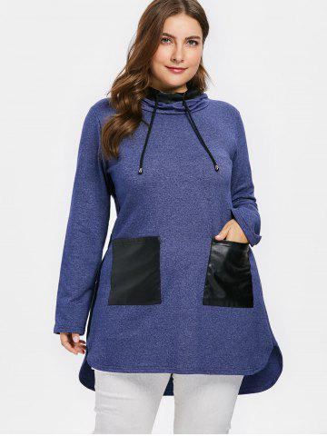 Plus Size Faux Leather Pockets Long Hoodie